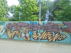 439 (en-ri) Tags: city marrone azzurro arrow torino wall muro graffiti writing parco dora felino