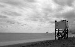 end of summer (federicog2) Tags: seaside cloudy summer lifeguard landscape seascape filter blackandwhite huawei sea clouds cloud sand