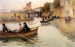 Boat Scene (skaradogan) Tags: göksu river nehir creek barge kayık tekne sandal sefası enjoyment pleasure ottoman woman lady paintin osmanlı kadın hanımefendisi tablo resim painting