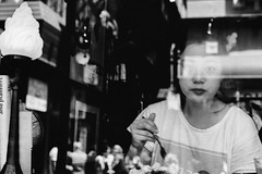 Breakfast at ... (McLovin 2.0) Tags: people portrait cafe shop window candid street streetphotography monochrome bw urban city melbourne eyes lips sony a7s 55mm zeiss reflections explore explored