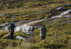 Roadside waterfall (@JBOccyTherapy) Tags: roadside waterfall e10 norway lofoten reine river stream green healthland mountains snow cold autumn