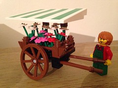 Flower cart (craigslegostuff) Tags: fun funny lego cmf afol minfig minifigs minifigure collectible man woman toy model figure flower flowers cart flowercart