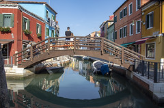 Burano in Sunshine (hisdream) Tags: venice burano sunshine hot houses boats canals colours people bridge