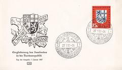 Briefmarken der Deutschen Bundespost Saarland (micky the pixel) Tags: briefmarke stamp ephemera bundesrepublik deutschland bundespost saarland ersttagsbrief firstdaycover fdc wappen heraldik eingliederungdessaarlandes