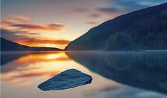 Sunrise on a misty Welsh Lake (seantindale) Tags: sunrise longexposure island olympus omdem5markii waterscape srbphotographic 6stopfilter ndgrad