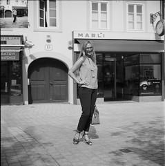 Smile (Koprek) Tags: rolleiflex28f film analog 6x6 120 medium zagreb croatia portrait september2018 streetphotography fomapan 100