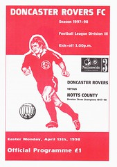 Doncaster Rovers vs Notts County - 1998 - Cover Page (The Sky Strikers) Tags: doncaster rovers notts county football league division three belle vue official programme one pound