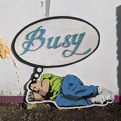 Dreaming of busier times (id-iom) Tags: stencil wood cutout busy thread graffiti streetart urbanart urban sleep sleeping nails paint vandalism streetdrop london street art painting darren sleeper