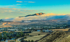 Fog Over Squaw Butte (http://fineartamerica.com/profiles/robert-bales.ht) Tags: gemcounty idaho landscape pets places scenic states mountain emmett sweet storm squawbutte farm rollinghills idahophotography treasurevalley sunrise clouds spring emmettvalley emmettphotography trees yellow thebutte haybales canonshooter beautiful sensational awesome surreal sublime spiritual inspiring inspirational wow robertbales town butte gem treasurevalleysquawbutte valley sunset fog morning