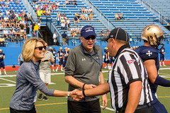 Pregame-7 (John Carroll Univ.) Tags: athletics fun homecoming president drjohnson homecoming2018 football americanfootball clothing crashhelmet footballhelmet hardhat helmet human people person sport sports team teamsport