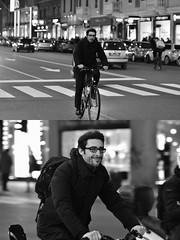 [La Mia Città][Pedala] sorridendo (Urca) Tags: milano italia 2018 bicicletta pedalare ciclista bike bicycle nikondigitale scéta ritrattostradale portrait dittico biancoenero blackandwhite bn bw 115851 sorridendo