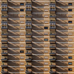 Salute to the Sun (Paul Brouns) Tags: architecture architectuur architektur архитектура абстракт абстракция балконы balcony balconies shadows repetitive repetition facade bricks layers prayer rosary mantra paulbrouns paulbrounscom paul brouns netherlands nederland venlo niederlande pays bas holland limburg sunshine summer evening square windows minimal minimalist minimalism