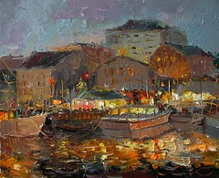 Evening Town By Oleg Trofimov, Oil Painting (katalaynet) Tags: follow happy me fun photooftheday beautiful love friends