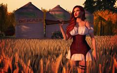 Country Girl (Jenna Jay ( jjdomzarjs )) Tags: country girl secondlife sl slphotography slart sexy jjdomzarjs redhead red shotgun corn farm sun sunrise sunset second life 3d babes