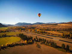 Hot Air Balloon Coming In For a Landing. (EdBob) Tags: hotairballoon balloon hot air landing runway airport winthrop methowvalley aircraft adventure adventuretravel autumn fall airstrip colorful drone dji aerial field landscape rural country edmundlowephotography edmundlowe sunrise dawn morning washington pacificnorthwest washingtonstate america usa allmyphotographsare©copyrightedandallrightsreservednoneofthesephotosmaybereproducedandorusedinanyformofpublicationprintortheinternetwithoutmywrittenpermission
