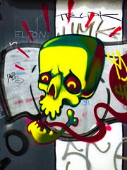 Have a Jaw Dropping Halloween (Steve Taylor (Photography)) Tags: jawdropping halloween haloween skull jaw elton eyes mugs sfc cartoon graffiti streetart tag black yellow white red contrast grey spooky frightening scary newzealand nz southisland canterbury christchurch city glow