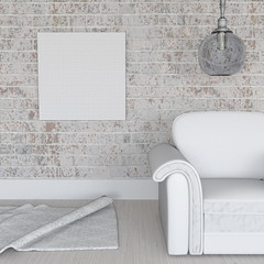 3D blank canvas on grunge brick wall in room interior (2108concept) Tags: 3drender 3d render background landscape old vintage concept room interior lounge home house wall grunge display wood wooden plank picture canvas blankpicture scene seat sofa light rug furniture minimal minimalistic brick