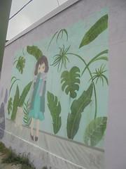 262 (en-ri) Tags: bambina little girl foglie leaves verde lilla viola torino wall muro graffiti writing