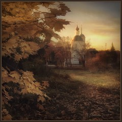 Autumn evening in Obninsk. (odinvadim) Tags: landscape mytravelgram iphoneart autumn iphone iphoneography iphoneonly textured evening obninsk painterlymobileart snapseed specialist sunset textures travel artist editmaster church