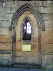 Window into the Tower, Bombed Out Church, Liverpool, England (teresue) Tags: 2017 uk unitedkingdom greatbritainengland merseyside liverpool bombedoutchurch window stlukeschurch