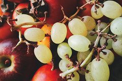 grapes (Lana37rus) Tags: persimmon grapes fruit berries red green ripe apple mellow yellow orange food