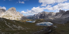 sextener dolomites (koaxial) Tags: p9204532ap9204533p1ma koaxial tres cimes dreizinnen südtirol italy view pano hugin lakes water see mountains berge wolken clouds nature landscape aussicht rifugio antonio locatell