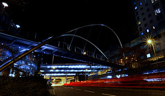 Churchill Way East (amazingstoker) Tags: road basingstoke street amazingstoke star basingrad hampshire burst churchill starburst way lumiere east dual crown carriageway heights eastrop foot bridge light trail stainless steel arch night le long exposure park tunnel car