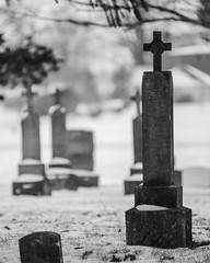 Cold Stones (D A Baker) Tags: tombstones headstones monuments crosses cemetery churchyard boneyard graveyard dead deceased burials buried snow winter cold silhouette indiana hoosier rural bokeh