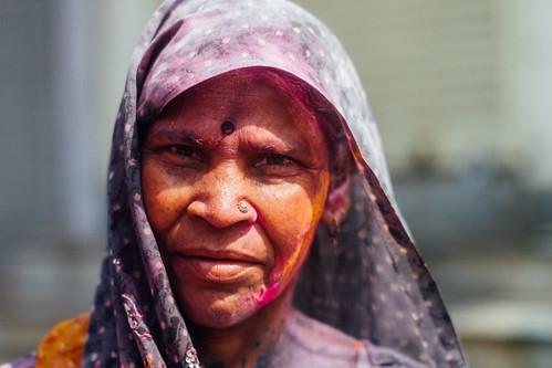 Hindu Woman During Holi, Mathura India