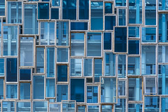 Facade with glass and wood (Jan van der Wolf) Tags: map189346v lorient facade gevel gebouw building wood hout glass glas architecture architectuur rhythm patroon pattern blue blauw lorientagglomération