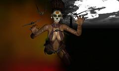 Alea halloween - fyling with bats (Alea Lamont) Tags: ndmd ethnic skins black female skin women shapes sugar skull face tattoos lelutka catwa vista bento head genus laq mesh unorthodox hair arcade masoom hell bound smoke fog dispenser