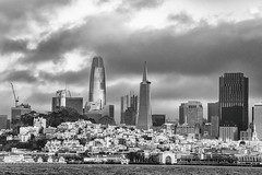 New San Francisco Skylines (Thomas Hawk) Tags: america bayarea california sf sfbayarea sanfrancisco usa unitedstates unitedstatesofamerica bw us salesforcetower architecture transamericabuilding 555californiastreet bankofamericabuilding coittower fav10 fav25 fav50 fav100