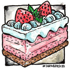 Slice (mydoghasnono.se) Tags: inktober2018 inktober ink watercolor watercolour drawing doodle illustration challenge slice cake sweet pudding fancy cream strawberries summer dinner meal food