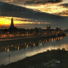 Arnhem (Ruud Otter) Tags: iphone morning sunrise eusebiuskerk arnhem kade rivier river rijn rhine city urban
