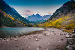 The Maroon Bells lake (nbalsaleh) Tags: aspen colorado fall autumn colors trial hike trees landscape d7200 wideangle photography lake september maroon bells mountains 50mm 1020mm nikon clouds leaves