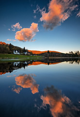 Tysvær, Norway (Vest der ute) Tags: xt20 norway rogaland water waterscape landscape lake reflections mirror serene sky clouds sunset trees house fav25 fav200