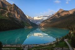 Early Morning Lake Louise (Samantha Decker) Tags: ab alberta banffnationalpark canada canadianrockies canonef1635mmf28liiusm canoneos6d flickr lakelouise parkscanada rockymountains samanthadecker