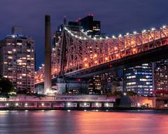 Queensboro Bridge at Night (bcpearce0) Tags: longexposure urban manhattan river purple newyorkcity nyc bridge cityscape night skyline queensborobridge newyork