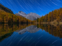 Lai da Palpuogna moonlight and star trails (lukas schlagenhauf) Tags: laidapalpuogna palpuognasee switzerland swiss schweiz myswitzerland suisse startrails lakepalpuogna nature landscape canoneos6d canon europe water reflection mirror albulapass albulavalley albulatal graubünden mountains grison alps noclouds lukasschlagenhauf autumn fall