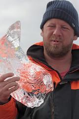 Ancient Ice (peterkelly) Tags: digital canon 6d iceland europe gadventures bestoficeland jökulsárlónglacierlagoon toque hat ice boatride berg bit hand orange