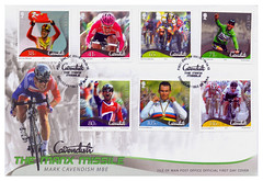 Mark Cavendish - The Manx Missile. (Paris-Roubaix) Tags: mark cavendish isle man post office first day cover special stamps the manx missile douglas ruth sutherland tim british cycling htc sky telecom 2012 world road champion tour de france green jersey royal mail waele mbe sportsman year rainbow