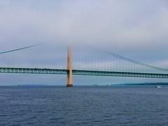 Mackinac Bridge (ekelly80) Tags: michigan mackinawcity mackinacisland summer august2018 ferry boat lakehuron lakemichigan starlines mackinacbridge water lakes fog foggy bridge