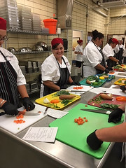 Participants learning scratch cooking and knife skills at Montana school nutrition training (USDAgov) Tags: foodandnutritionservice fns nutrition nationalschoollunchweek teamnutrition schoolnutritionprofessionals schoolmeals schoollunch usdafoods menuplanning health