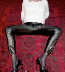 New leather pants ready for christening! (donnacd) Tags: sissy tgirl tgurl slut dressing crossdress crossdresser cd travesti transgenre xdresser crossdressing feminization tranny tv ts feminized jumpsuit domina blouse satin lingerie touchy feely he she look 易装癖 シー