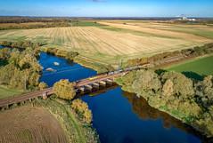 56090 and 56094 cross the Trent at Averham (robmcrorie) Tags: 56090 56094 rhtt toton holton le moor staythorpe alveston bridge river phantom 4 trent train rail railway railfan