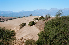 Bare Hill (markjwyatt) Tags: chinohills california hills contaxiia sonnar50mmf2 ektar100 mountains oaks trees houses fence film