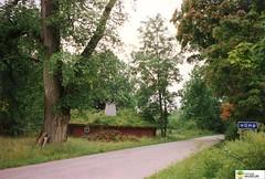 tm_5688 - Hömb, Västergötland (Tidaholms Museum) Tags: färgat positiv byggnad exteriör stuga landsväg vägvisare